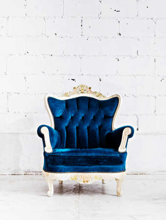 Blue classical style Armchair sofa couch in vintage room