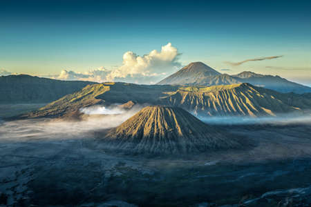 Bromo volcano at sunrise,Tengger Semeru National Park, East Java, Indonesia Banco de Imagens
