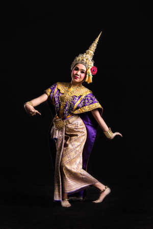an obeisance: Khon show Asian woman in traditional costume of Thailand