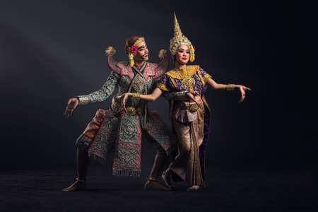 Khon show in traditional costume of Thailand Stock Photo