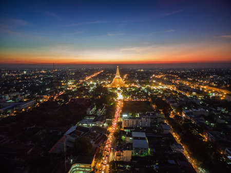 Golden pagoda Phra Pathom Chedi sunset of Nakhon Pathom province, Asia, Thailand