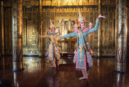 Khon is traditional dance drama art of Thai classical masked, this performance is Ramayana epic Фото со стока