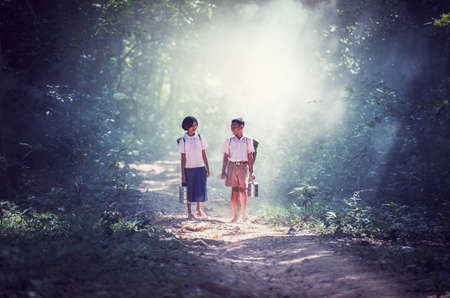 Student little asian boy and girl, countryside in Thailand Zdjęcie Seryjne