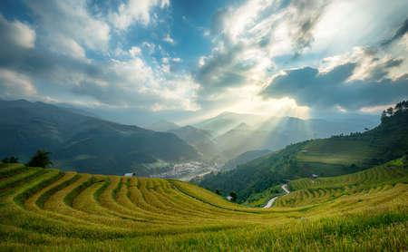 Rice fields on terraced of Mu Cang Chai, YenBai, Vietnam. Vietnam landscapes. 写真素材