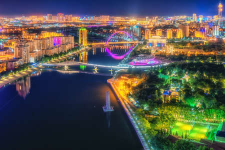 Astana, Kazakhstan, night view of the city illuminated as capital of Kazakhstan
