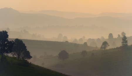Amazing mountain landscape with sunrise, natural outdoor travel background. Beauty world.