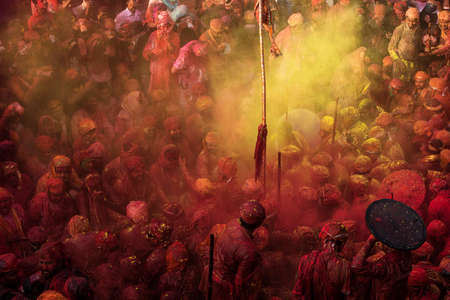 MATHURA, INDIA - Feburary 25,2018: Traditional holi festival.Holi Festival is a religious celebration of some kind of gospel. People celebrate of refreshing,fertility and upcoming spring