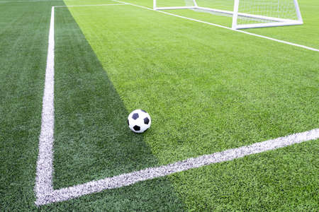 Football field with synthetic grass Foto de archivo - 137957046