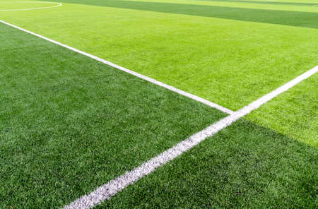 Football field with synthetic grass Foto de archivo - 137868719
