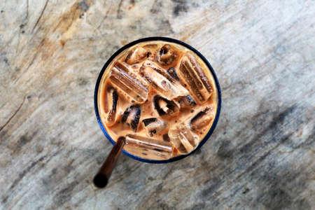 Ice Cafe Mocha on the wood table
