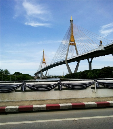 Cable stayed bridge named Sapan King Bhumipol