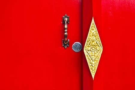 red door in Wat pho. photo
