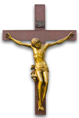 Jesus crucified on a white background