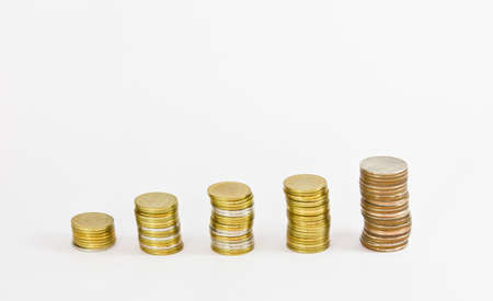 gold coin stack isolated on white  Stock Photo - 13543986