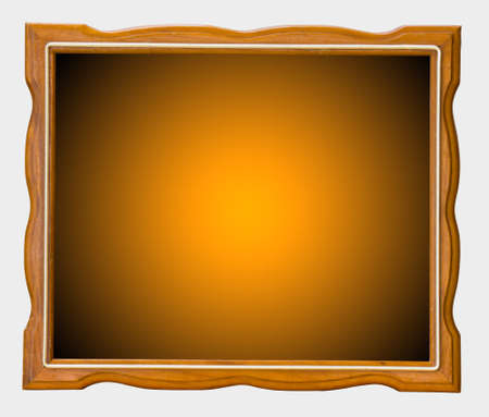 Orange wood picture frame on a white background  photo