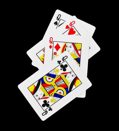 Quatre reines d'un type isolé sur noir Banque d'images - 13957621