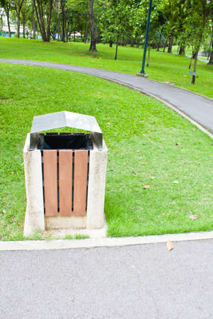 Public rubbish bin in a park  photo