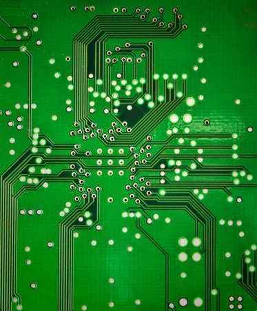 close up of the Green circuit board  photo