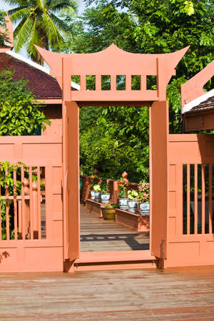 Door and terrace of thai style house in Thailand  photo
