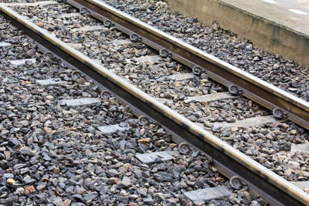 Railway or railroad tracks for train transportation  Stock Photo