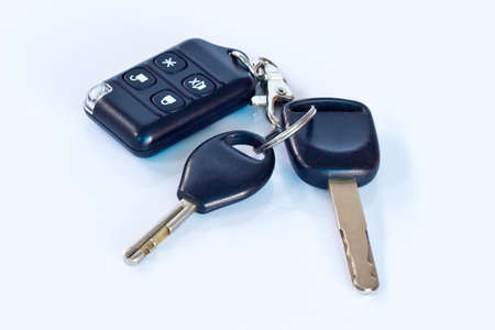 remote car key isolated on white background photo