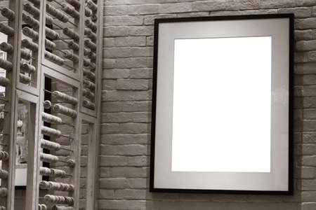 blank frame on the brick wall  photo