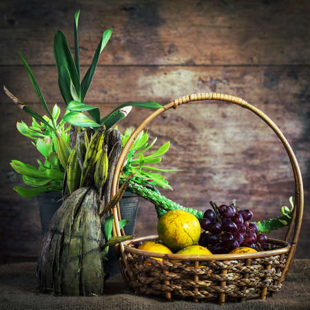 vegetables and fruits in the basket photo