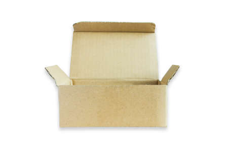 high section: Open small cardboard box isolated on white background.