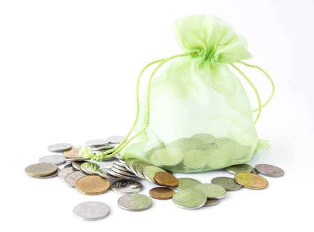 Bag of gold coins: Green money bag