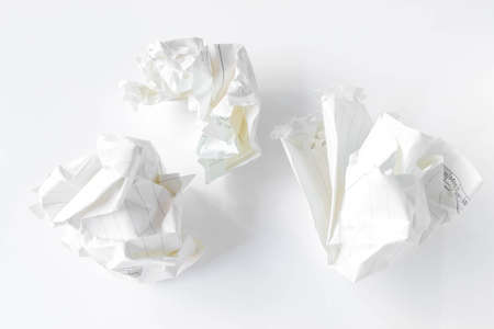wastepaper: Crumpled paper ball isolated on white Stock Photo