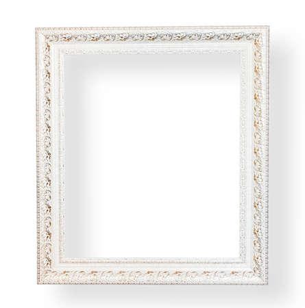 marcos decorativos: Vintage marco blanco con decoraci�n en el fondo blanco.