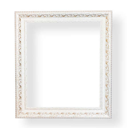 antique frames: Vintage white frame with decorative on white background.