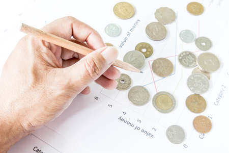 margins: coins on paper with graph