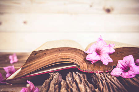 old desk: Vintage open book with flowers on old wooden