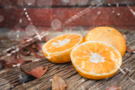 filtered: Abstract fruit orange on cement textured filtered background. Vintage Style. Stock Photo