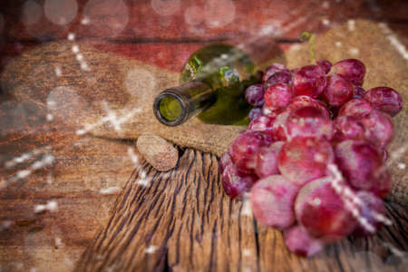 des vins: Abstract bottle of wine with corks on cement textured filtered background. Vintage Style.