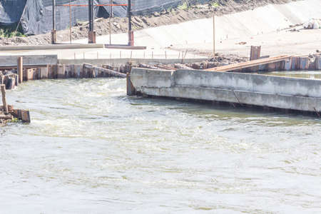 regulating: Barrage in Thailand for regulating the water level Stock Photo