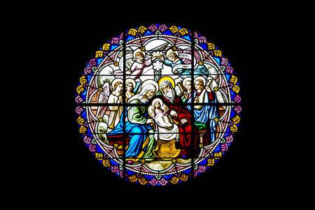 glas, gebrandschilderd, scène, venster, jesus, trog, het schilderen, Bethlehem, joseph, geboorte, kerk, kathedraal, geboorte, glas in lood, moeder mary, maria, kerstmis, kerststal, engel, Ratchaburi, Thailand, religieuze, familie, gebrandschilderd glas, bezoek, christus, churc
