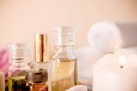 Spa Setting with Essence Oil. Stockfoto