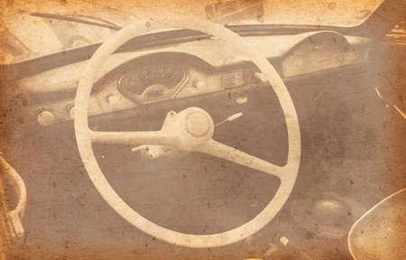 coche antiguo: Old Car Added Old paper texture. Foto de archivo