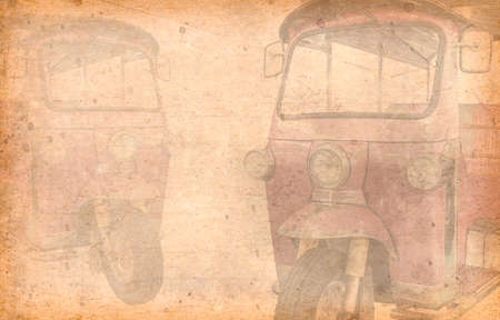 tuk tuk: Tuk Tuk taxi on a street in the Thai capital . Added Old paper texture.
