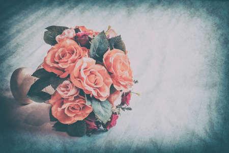 rose coloured: Pastel Coloured Artificial Pink Rose Wedding Bridal Bouquet, Vintage style.