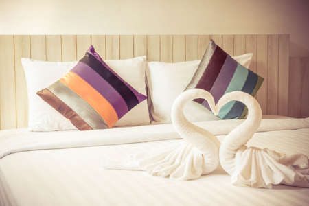 colorful bed sheets. Colorful Bed Sheets And Pillow. Vintage Style. Photo
