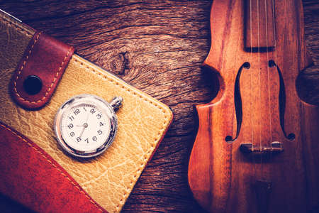 twelfth night: Blank Pocketbook with violin and old pocket watch