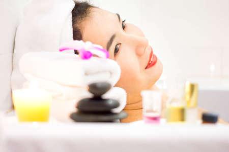 remedial: Close-up Asian woman beautiful woman in spa salon.