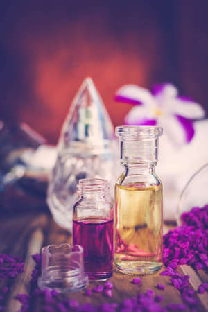 grooming product: Purple Spa Theme with Bath Salt, Oil,  candle and Orchid, The concept Wellness.