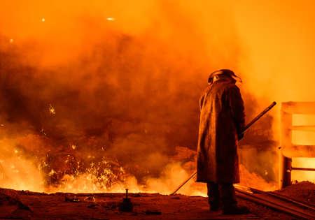 siderurgia: planta para la producción de hierro y acero Foto de archivo