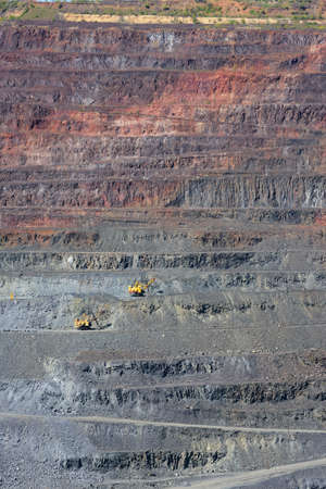 coal truck: extraction of iron ore by open way Stock Photo