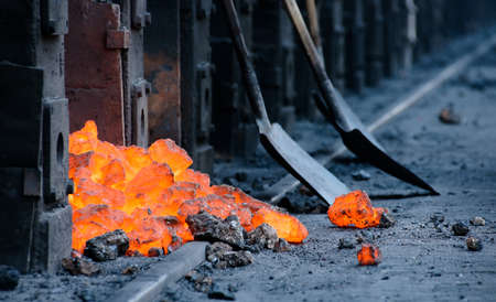 metallurgical: Worker at work at the metallurgical plant