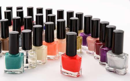 multi colors: Multi colors nail polish. Rainbow of cosmetics Stock Photo